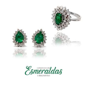 imagem Conjunto em Ouro 18k com esmeralda e brilhantes.