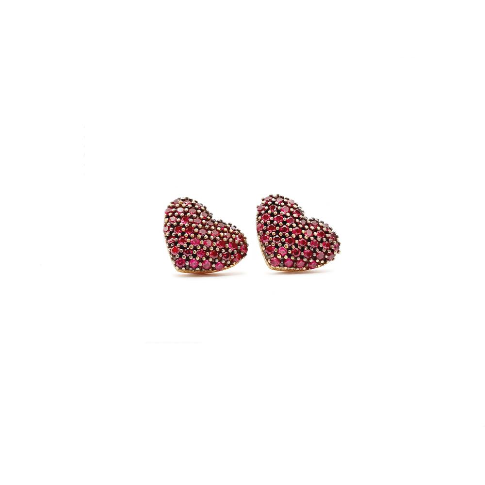imagem Par de brincos em Ouro 18k. coração com rubis