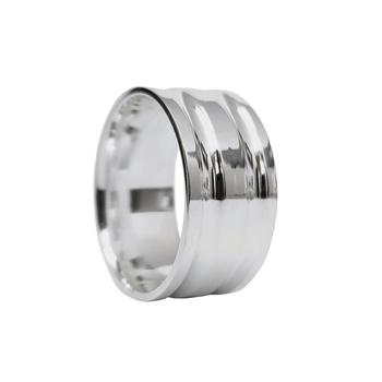 imagem Aliança de compromisso em prata reta com dois frisos.
