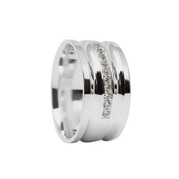 imagem Aliança de compromisso em prata reta com dois frisos com zircônias