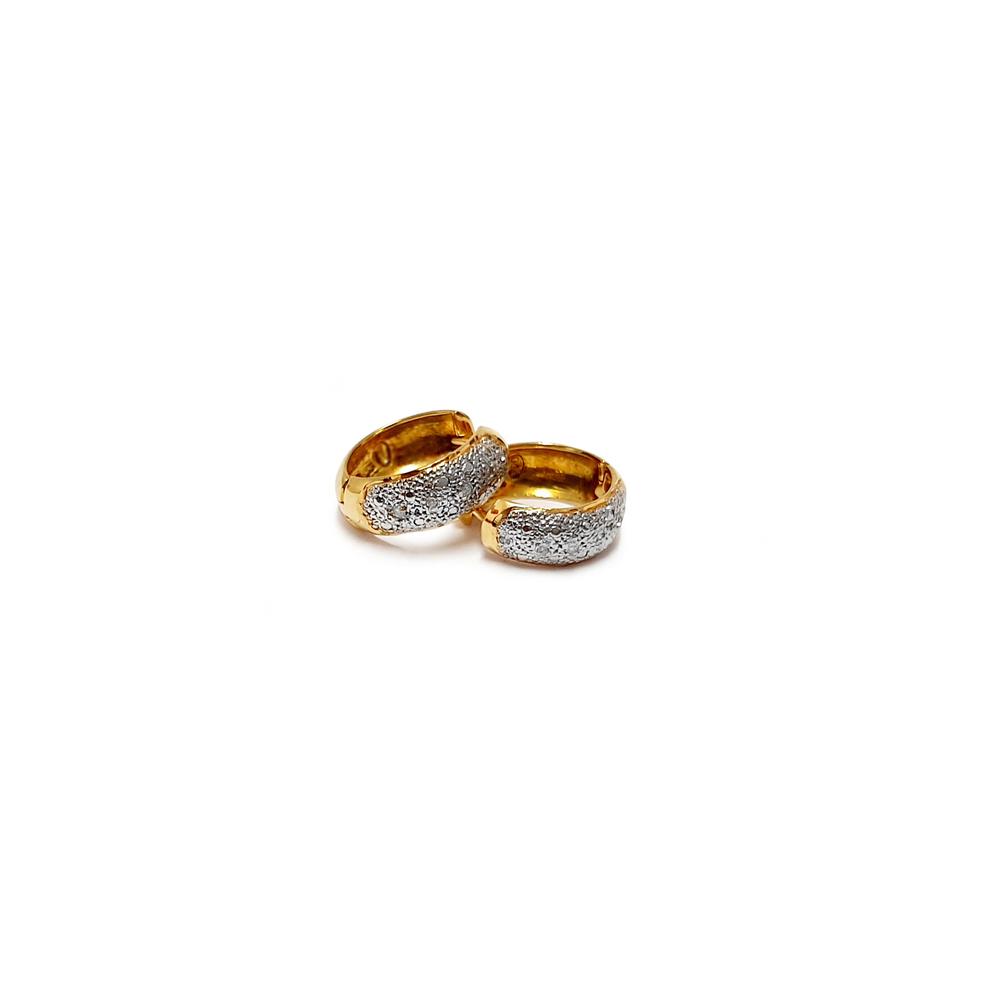 imagem Par de brincos em Ouro 18k. bicolor com diamantes