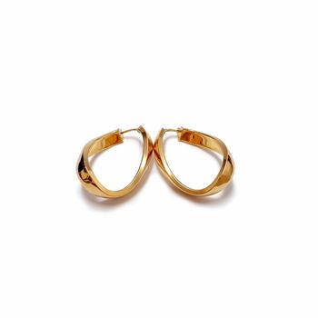 imagem Par de brincos em Ouro 18k argola oval