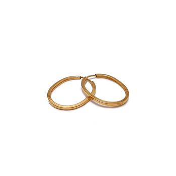 imagem Par de brincos em Ouro 18k argola oval simples