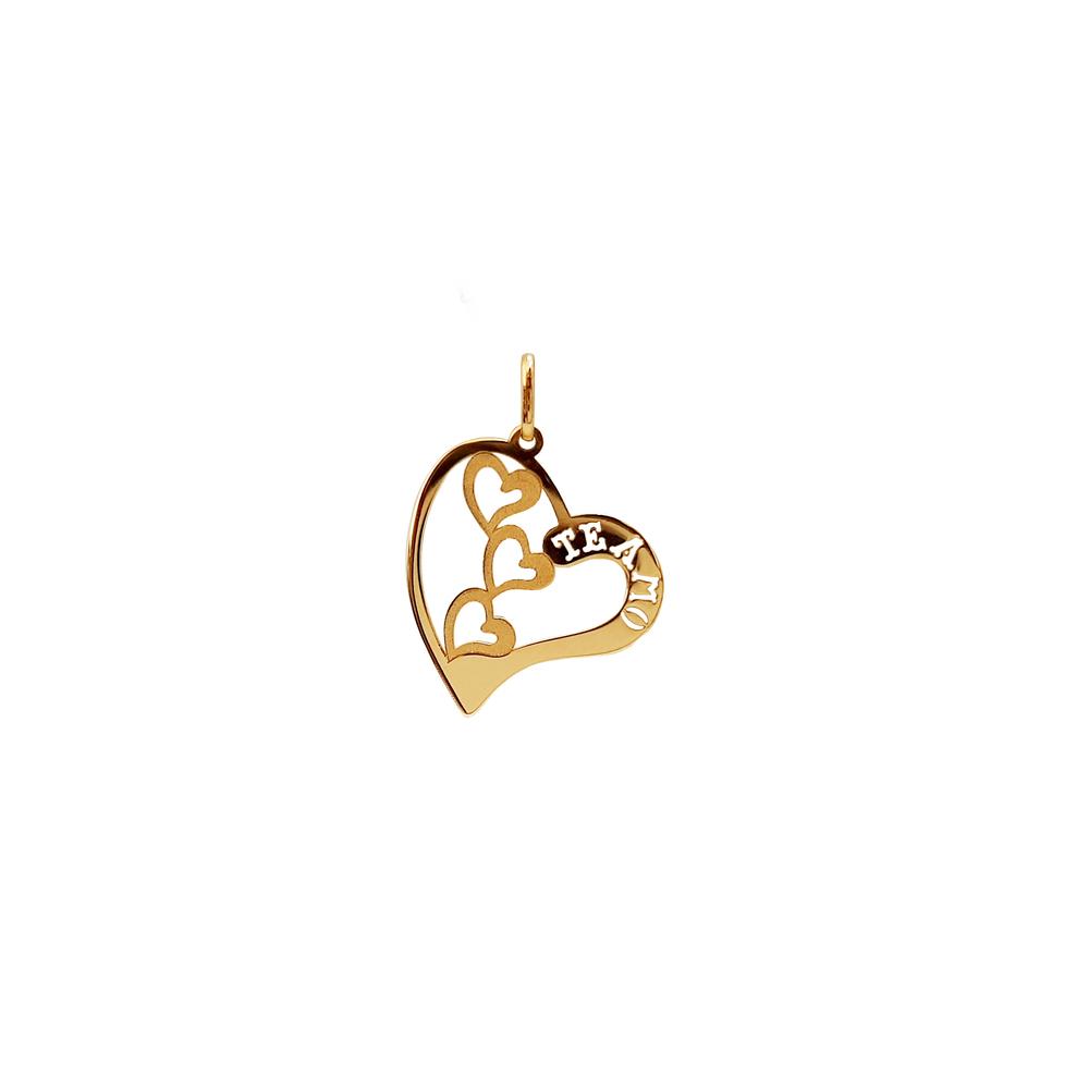 imagem Pingente em Ouro 18k coração te amo