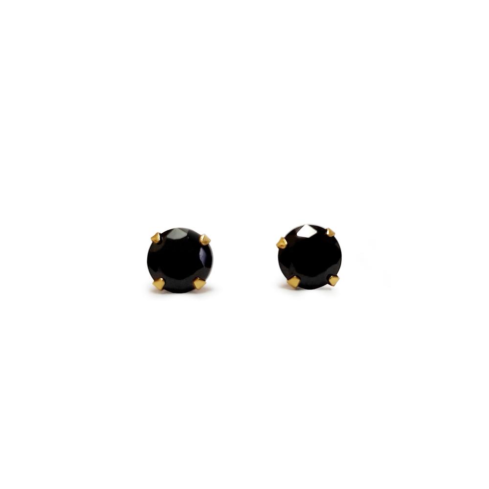 imagem Par de brincos em Ouro 18k zircônia negra